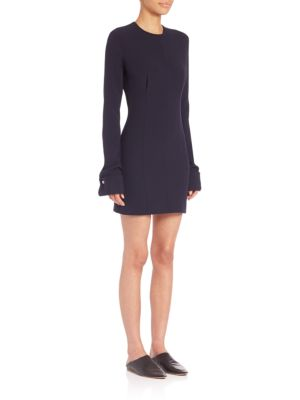 Long-Sleeve Seamed Dress