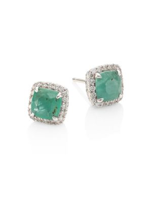 Batu Classic Chain Diamond, Emerald & Sterling Silver Stud Earrings