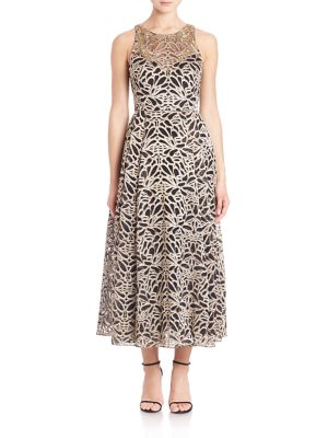 Buy Marchesa Notte Sleeveless Embroidered Tea-Length Gown online with Australia wide shipping