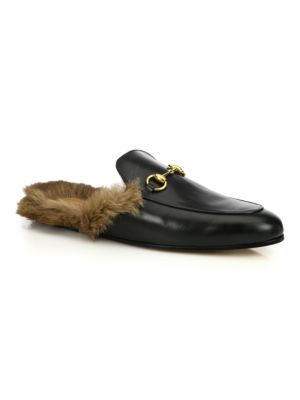 gucci male princetown leather fur loafer slides