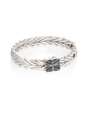 Modern Chain Black Spinel & Sterling Silver Extra-Small Bracelet