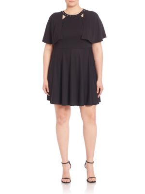 Studded Cape Overlay Dress