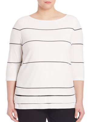 Matte Crepe Striped Sweater plus size,  plus size fashion plus size appare