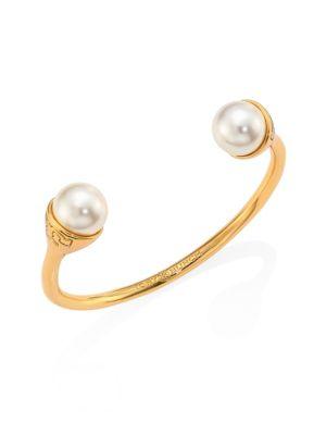 Crystal Pearl Bud Cuff Bracelet