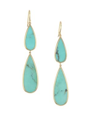 Turquoise & 18K Gold Double Teardrop Earrings