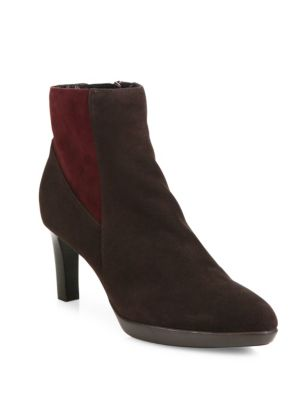 Debra Colorblock Suede Booties
