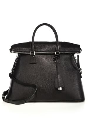 Large Fold-Over Leather Top-Handle Tote