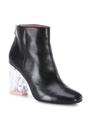 Ora Glass Block-Heel Leather Booties