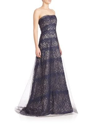 Strapless Layered Lace Gown
