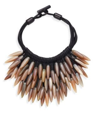 Fringed Leather & Horn Necklace