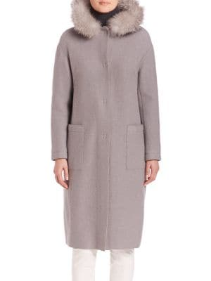 Fur Hooded Long Coat plus size,  plus size fashion plus size appare