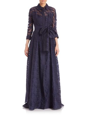 Collared Tie-Front Gown
