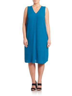 Silk V-Neck Dress plus size,  plus size fashion plus size appare