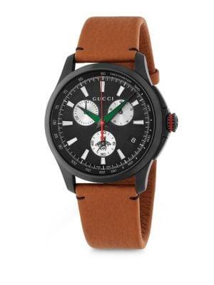 gucci male leather strap quartz watch