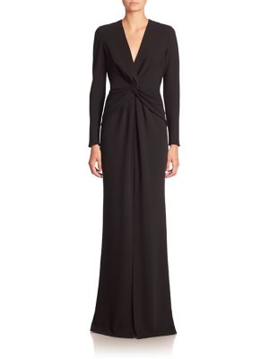 Long Sleeve Knot-Front Gown