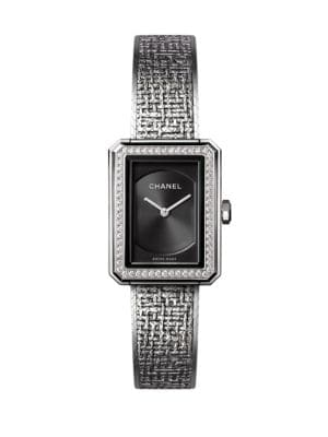 BOYFRIEND Tweed Small Diamond & Stainless Steel Bracelet Watch