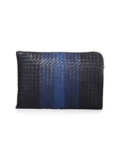 Bottega Veneta. Striped Woven Leather Pouch 40c81a7c3003a