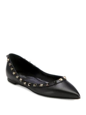 Noir Rockstud Leather Point-Toe Ballet Flats