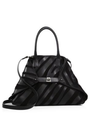 AI Small Convertible Leather & Suede Tote