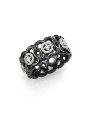 Moonlight Enchanted Lotus Diamond, 18K White Gold & Black Ceramic Band Ring