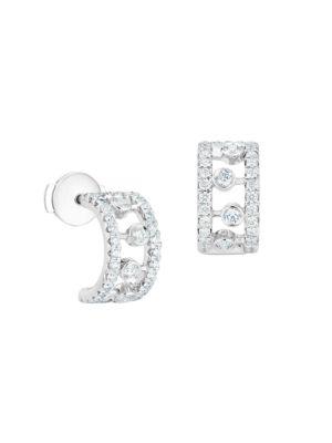 "Dewdrop Diamond & 18K White Gold Hoop Earrings/0.4"""