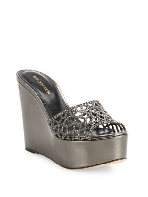 sergio rossi female 45900 tresor swarovski crystal metallic leather wedge sandals
