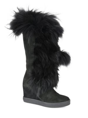 Aquatalia Colette Suede, Raccoon Fur & Shearling Wedge Boots