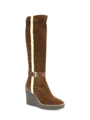 Viviana Suede & Faux-Fur Wedge Boots