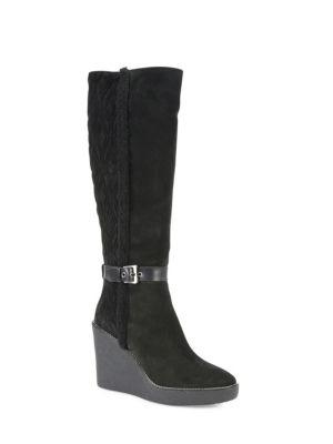 Viviana Suede & Faux Fur Wedge Boots
