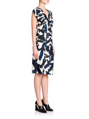 Seam-Detail Printed Dress