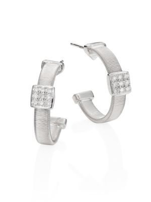 "Masai Diamond & 18K White Gold Small Hoop Earrings/0.6"""