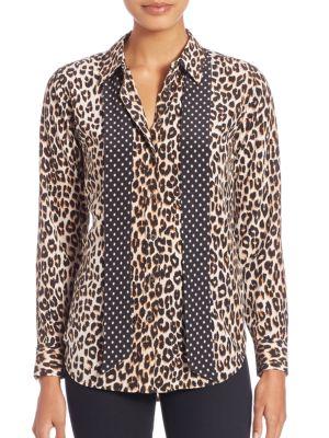 Kate Moss For Equipment Leopard-Print Silk Blouse plus size,  plus size fashion plus size appare