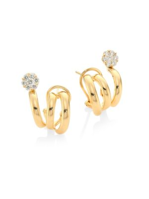 Diamond Flower & 18K Yellow Gold Earrings