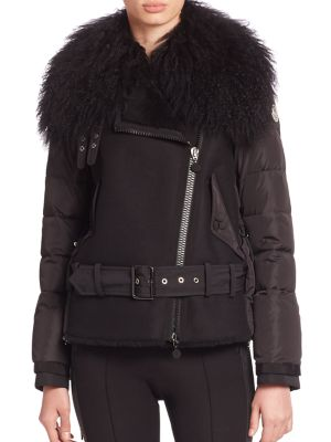 Grace Fur-Collar Shearling-Front Puffer Moto Jacket