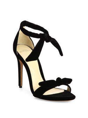 Clarita Velvet Ankle-Tie Sandals
