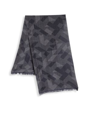COLLECTION BY JOHNSTONS Printed Merino Wool Frayed Scarf