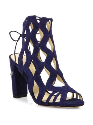 Loretta Suede Block Heel Cage Sandals
