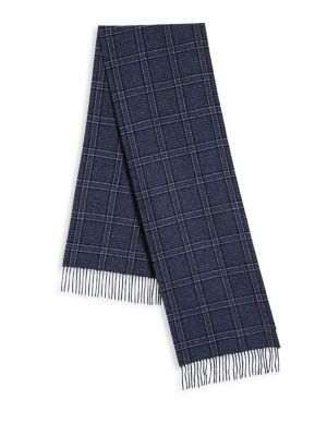 COLLECTION BY JOHNSTONS Check Patterned Cashmere Fringed Scarf