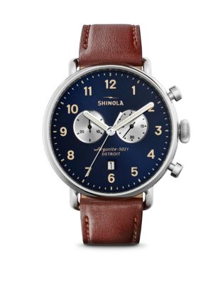 Canfield Chronograph Sunray Dial Leather Strap Watch
