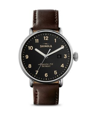 Coin Edge Leather Strap Watch