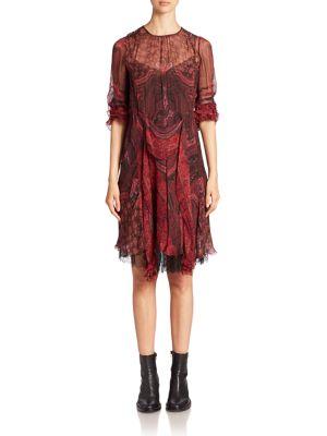 Printed Silk Ruffle Dress