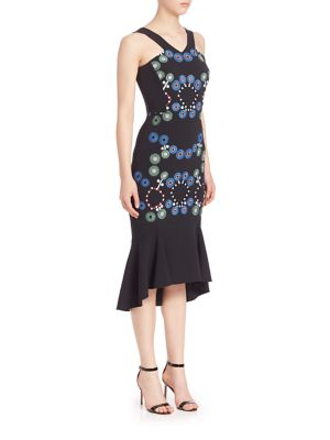 Cady Embroidered Peplum Hem Dress