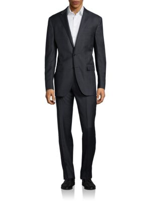 Light Plaid Two-Button Wool Suit