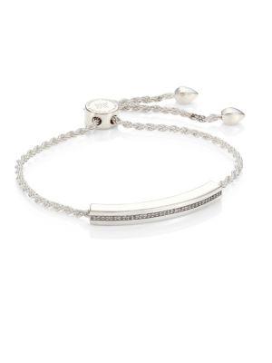 Linear Diamond Chain Bracelet/Silvertone