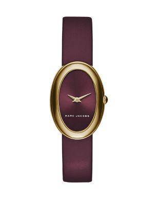 marc jacobs female  cicely goldtone stainless steel leather strap watch