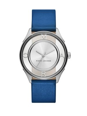 marc jacobs female 201920 tether skeleton stainless steel leather strap watch