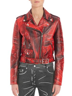 Faded Faux Leather Moto Jacket by Moschino