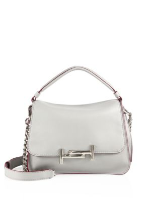 tods female 45906 double t leather messenger bag