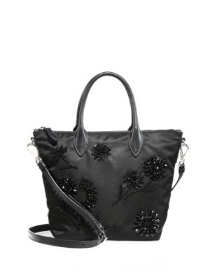 Floral-Beaded Nylon Tote