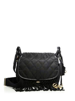 prada female 188971 fringed nylon leather corsaire messenger bag